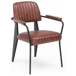 Světle hnědá kožená jídelní židle Bizzotto Nelly s područkami