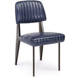 Tmavě modrá kožená jídelní židle Bizzotto Nelly