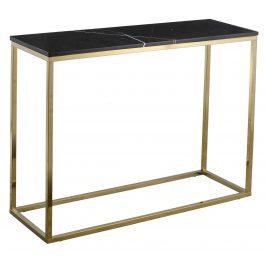 Černý mramorový toaletní stolek RGE Accent s matnou zlatou podnoží 100 cm