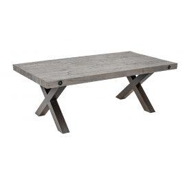 Moebel Living Šedý masivní konferenční stolek Hogan 120x64 cm