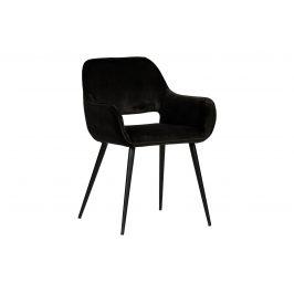 Hoorns Černá sametová jídelní židle Monky