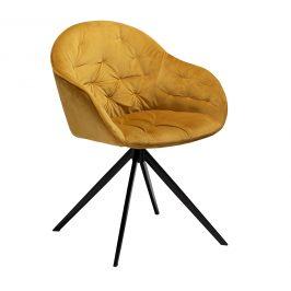 DAN-FORM Žlutá sametová jídelní židle DanForm Cray
