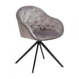DAN-FORM Šedá sametová jídelní židle DanForm Cray