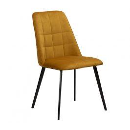 DAN-FORM Žlutá sametová jídelní židle DanForm Embrace