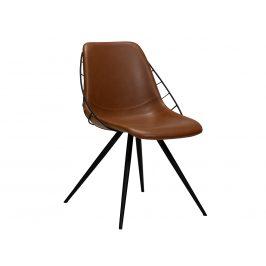 DAN-FORM Koňakově hnědá kožená jídelní židle DanForm Sway