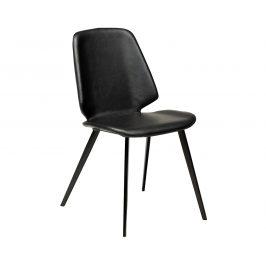 DAN-FORM Černá kožená jídelní židle DanForm Swing