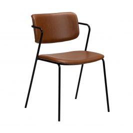 DAN-FORM Hnědá kožená jídelní židle DanForm Zed