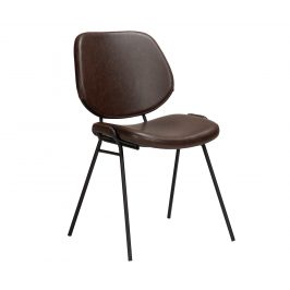 DAN-FORM Tmavě hnědá kožená jídelní židle DanForm Yeet