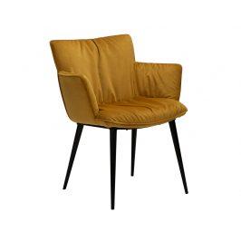 DAN-FORM Žlutá sametová jídelní židle DanForm Join s područkami