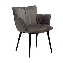 DAN-FORM Šedá sametová jídelní židle DanForm Join s područkami