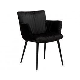 DAN-FORM Černá sametová jídelní židle DanForm Join s područkami