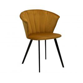 DAN-FORM Žlutá sametová jídelní židle DanForm Merge