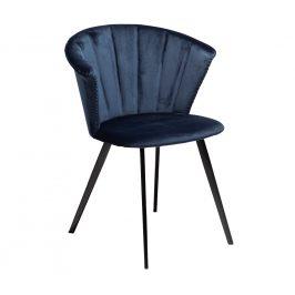 DAN-FORM Modrá sametová jídelní židle DanForm Merge