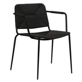 DAN-FORM Černá ratanová jídelní židle DanForm Stiletto s područkami