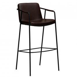 DAN-FORM Tmavě hnědá kožená barová židle DanForm Boto 105 cm