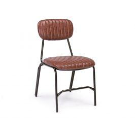 Hnědá kožená jídelní židle Bizzotto Debbie