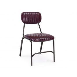 Vínová kožená jídelní židle Bizzotto Debbie
