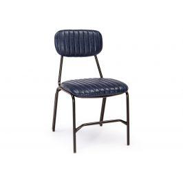 Modrá kožená jídelní židle Bizzotto Debbie