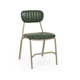 Zelená kožená jídelní židle Bizzotto Debbie