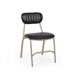 Černá kožená jídelní židle Bizzotto Debbie