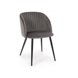 Šedá sametová jídelní židle Bizzotto Queen