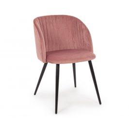 Růžová sametová jídelní židle Bizzotto Queen