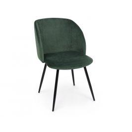 Zelená sametová jídelní židle Bizzotto Crown