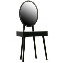 Hoorns Černý borovicový toaletní stolek se zrcadlem Vanessa