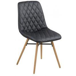 SCANDI Černá koženková jídelní židle Filip