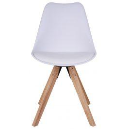 Bílá plastová jídelní židle Nordic Living Helgi s přírodní podnoží