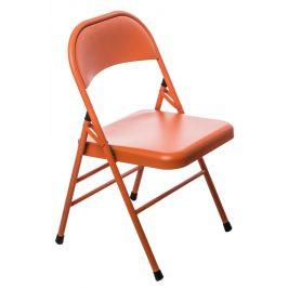 Culty Oranžová kovová skládací židle Frosty Židle do kuchyně