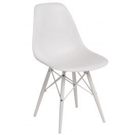 Culty Bílá plastová židle DSW s bílou podnoží