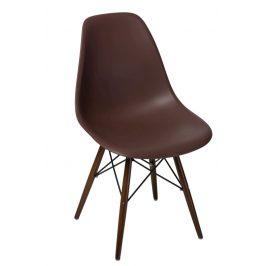 Culty Hnědá plastová židle DSW s tmavou podnoží