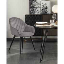 Šedá sametová jídelní židle LaForma Herbert