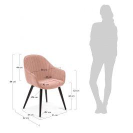 Růžová sametová jídelní židle LaForma Herbert