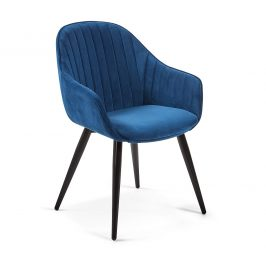 Modrá sametová jídelní židle LaForma Herbert