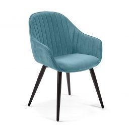 Tyrkysově zelená sametová jídelní židle LaForma Herbert Židle do kuchyně