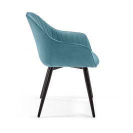 Tyrkysově zelená sametová jídelní židle LaForma Herbert