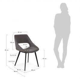 Tmavě šedá čalouněná jídelní židle LaForma Hest