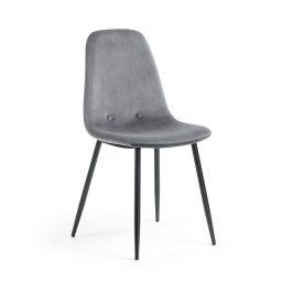 Šedá sametová jídelní židle LaForma Lissy Židle do kuchyně