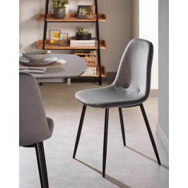 Šedá sametová jídelní židle LaForma Lissy