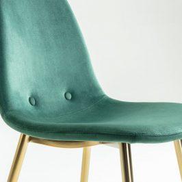 Tmavě zelená sametová jídelní židle LaForma Lissy