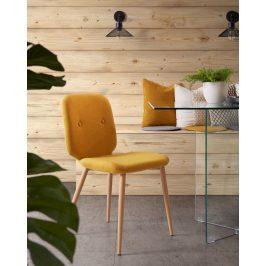 Žlutá čalouněná jídelní židle LaForma Stem