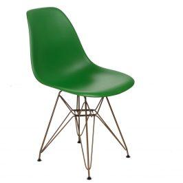 Culty Zelená plastová židle DSR se zlatou podnoží
