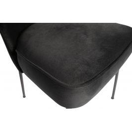 Hoorns Černá sametová jídelní židle Tergi