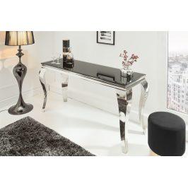 Moebel Living Stříbrnočerný skleněný toaletní stolek Versaille 140 x 54 cm