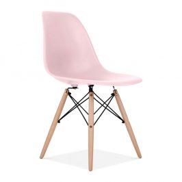 Culty Pastelově růžová plastová židle DSW s bukovou podnoží
