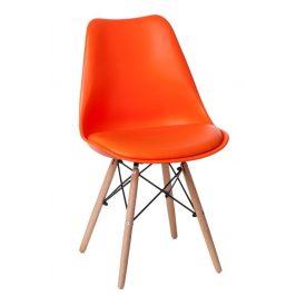 Culty Oranžová plastová polstrovaná židle DSW s bukovou podnoží