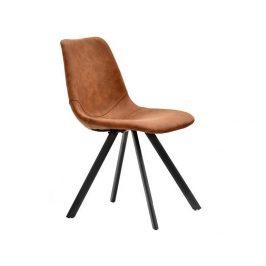 Design Project Hnědá koženková jídelní židle Byrne Židle do kuchyně