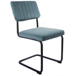 Time for home Světle modrá sametová jídelní židle Cornelia Židle do kuchyně